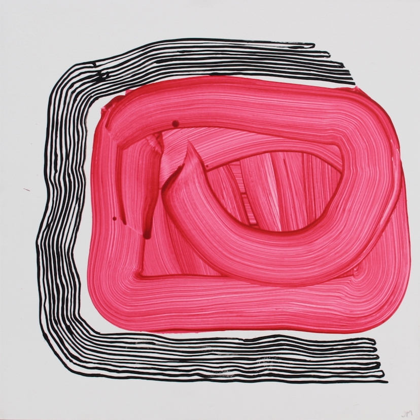 Joel Moskowitz,  Damage Control , Acrylic on wood panel, 16x16