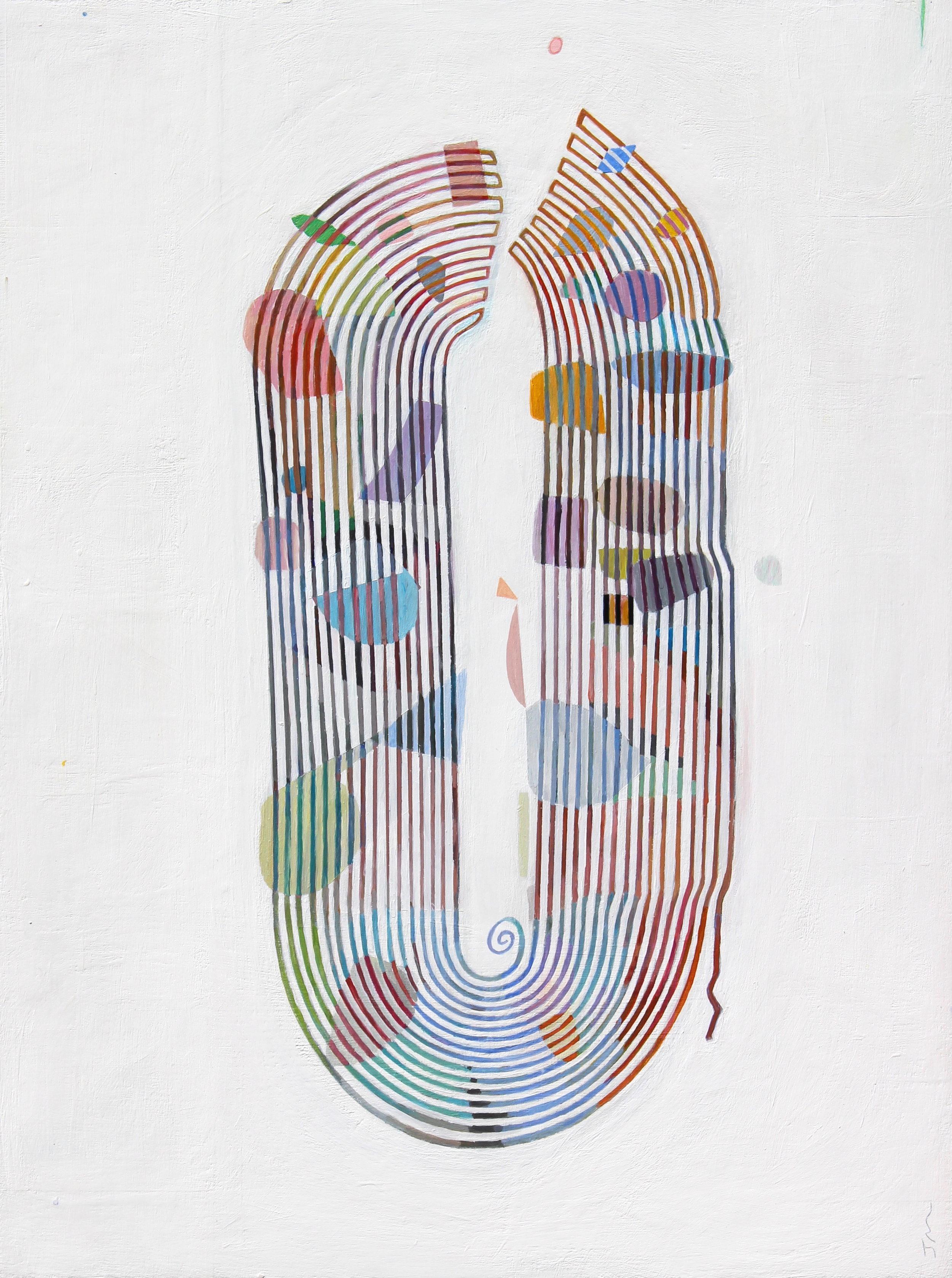 Moskowitz, Joel,  Spool , Acrylic on wood panel, 24x18