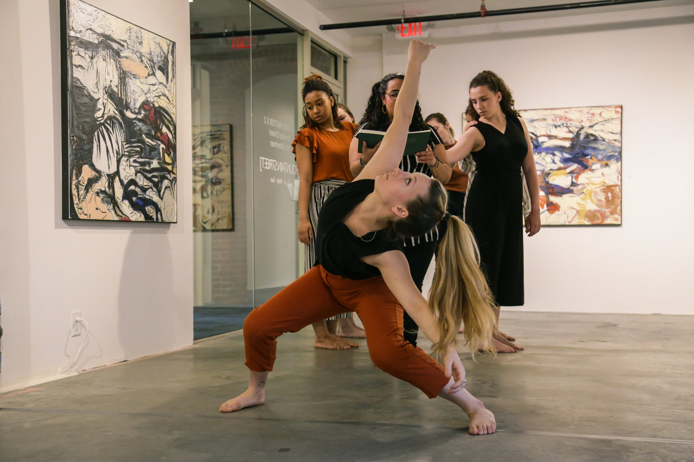 """VLA Dance performs 'SAND"""", amid artwork by Iris Osterman and Brenda Cirioni. Photo by Olivia Moon Photography."""