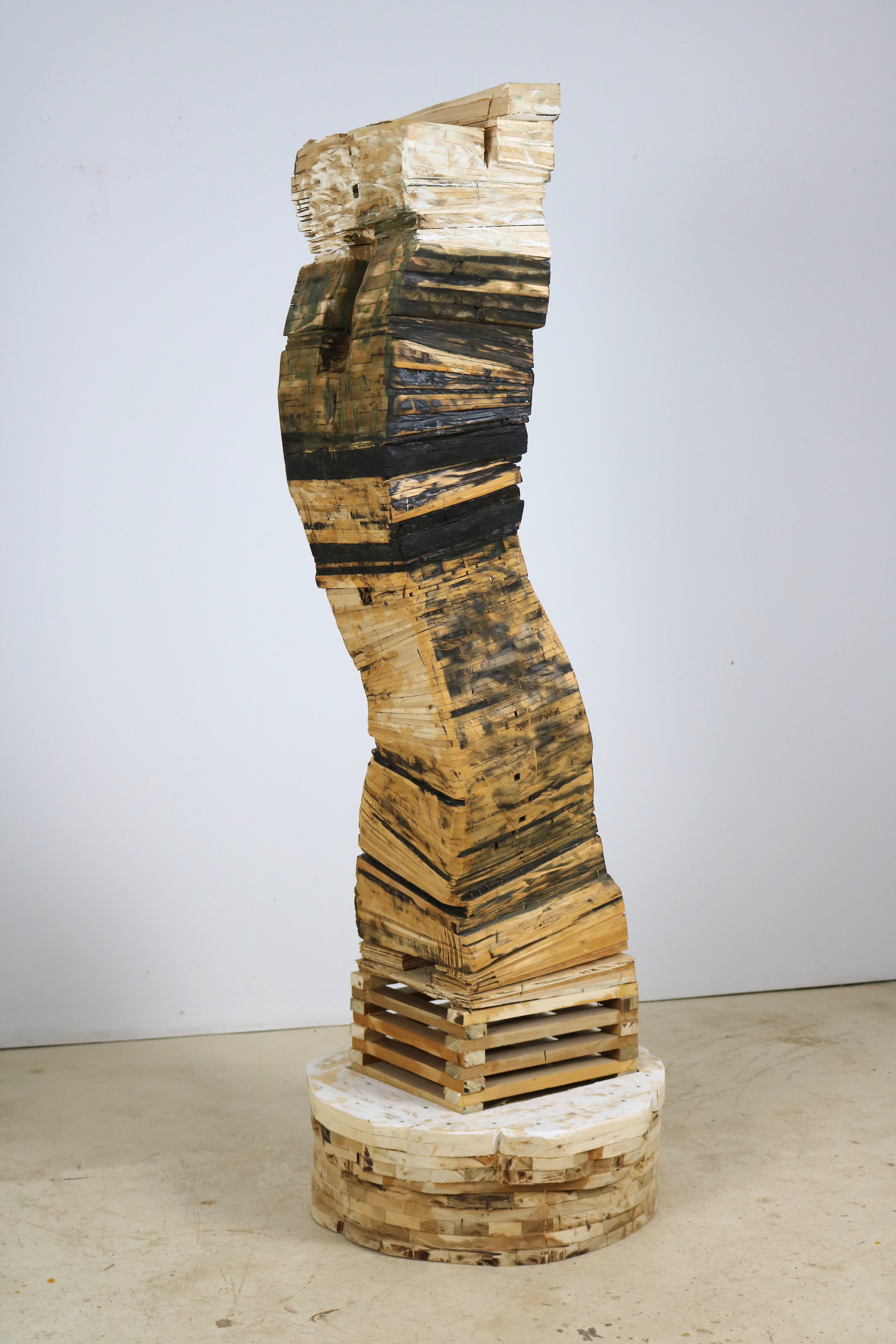 Leslie Zelamsky,  Point of Departure 5 , Pine, cedar, roof shingles, pigment, 63.5 x 23 x 22