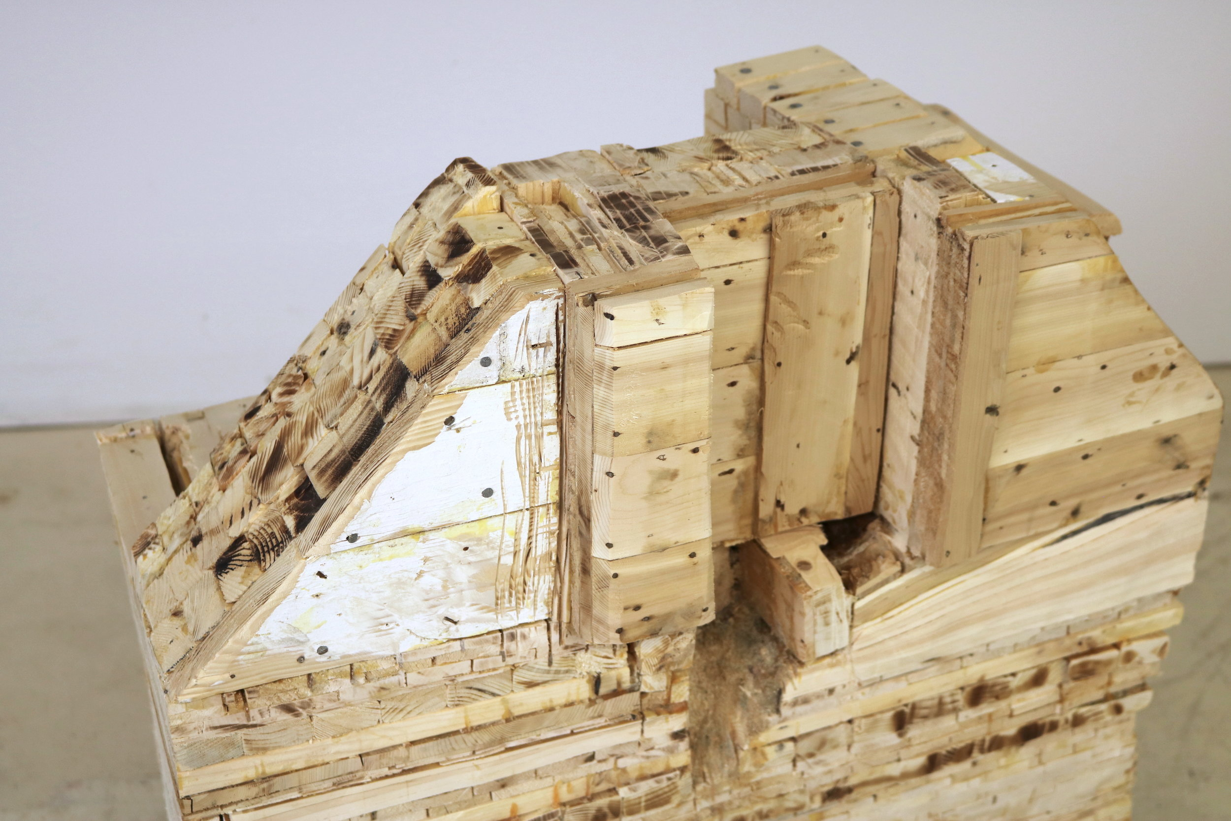 Leslie Zelamsky,  Point of Departure 7 , detail,  Pine, cedar, 30.5 x 31.5 x 15