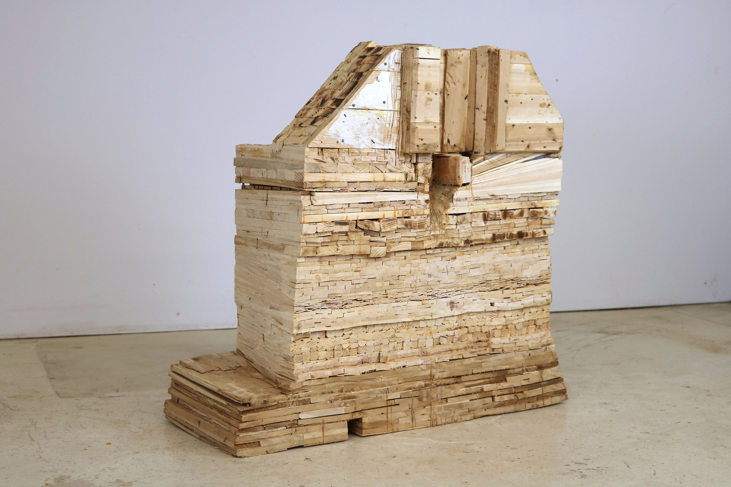 Leslie Zelamsky,  Point of Departure 7 , Pine, cedar, 30.5 x 31.5 x 15