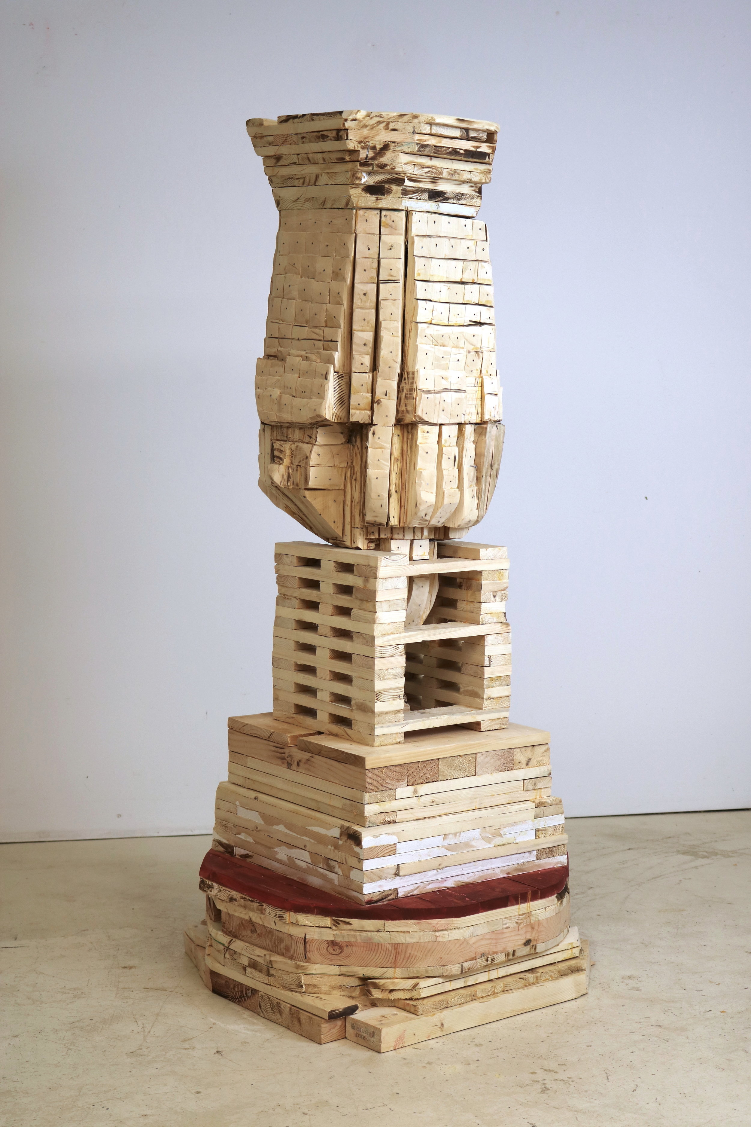 Leslie Zelamsky,  Point of Departure 8 , Pine, cedar, paint, 56 x 25 x 25