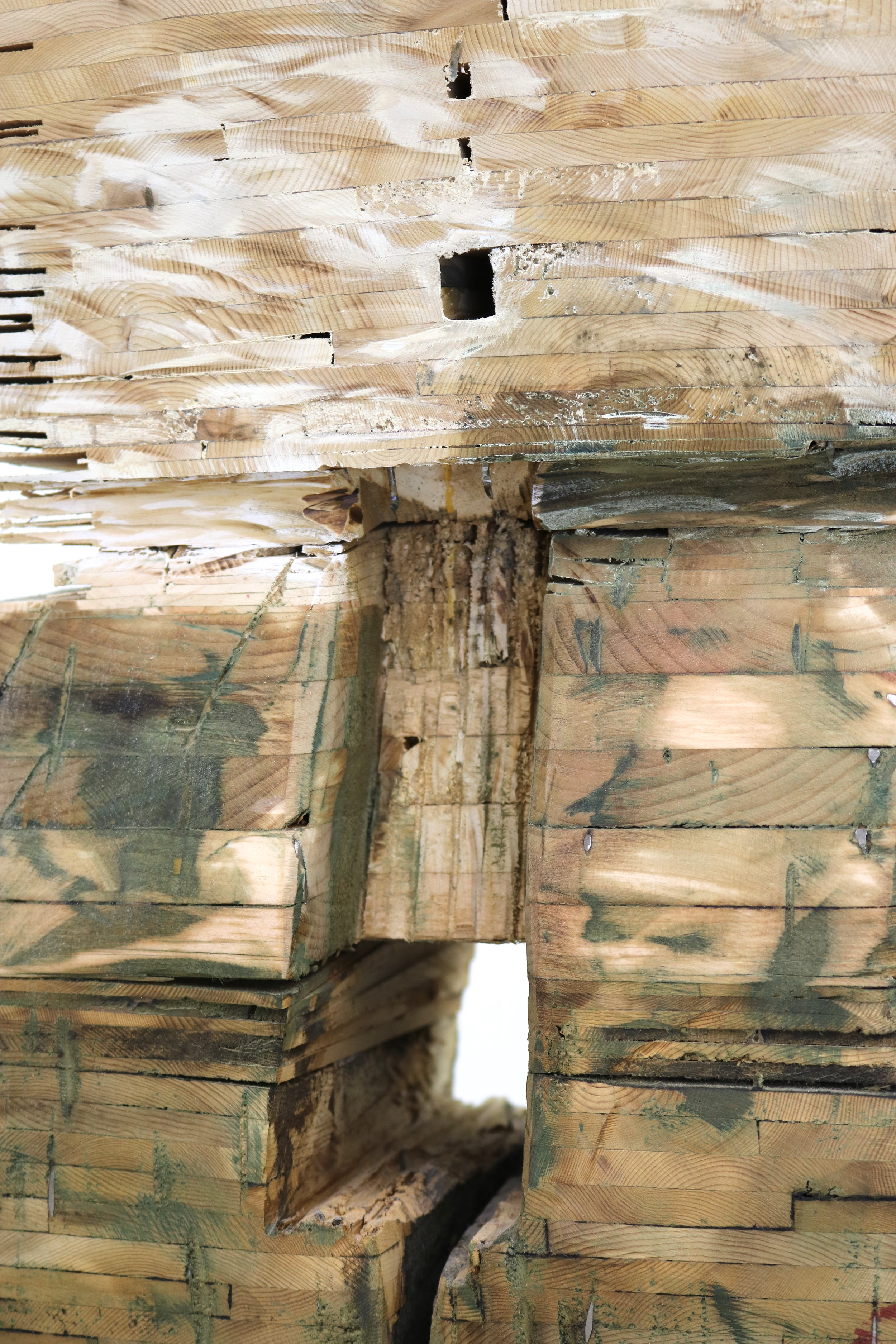 Leslie Zelamsky,  Point of Departure 5 , detail, Pine, cedar, roof shingles, pigment, 63.5 x 23 x 22