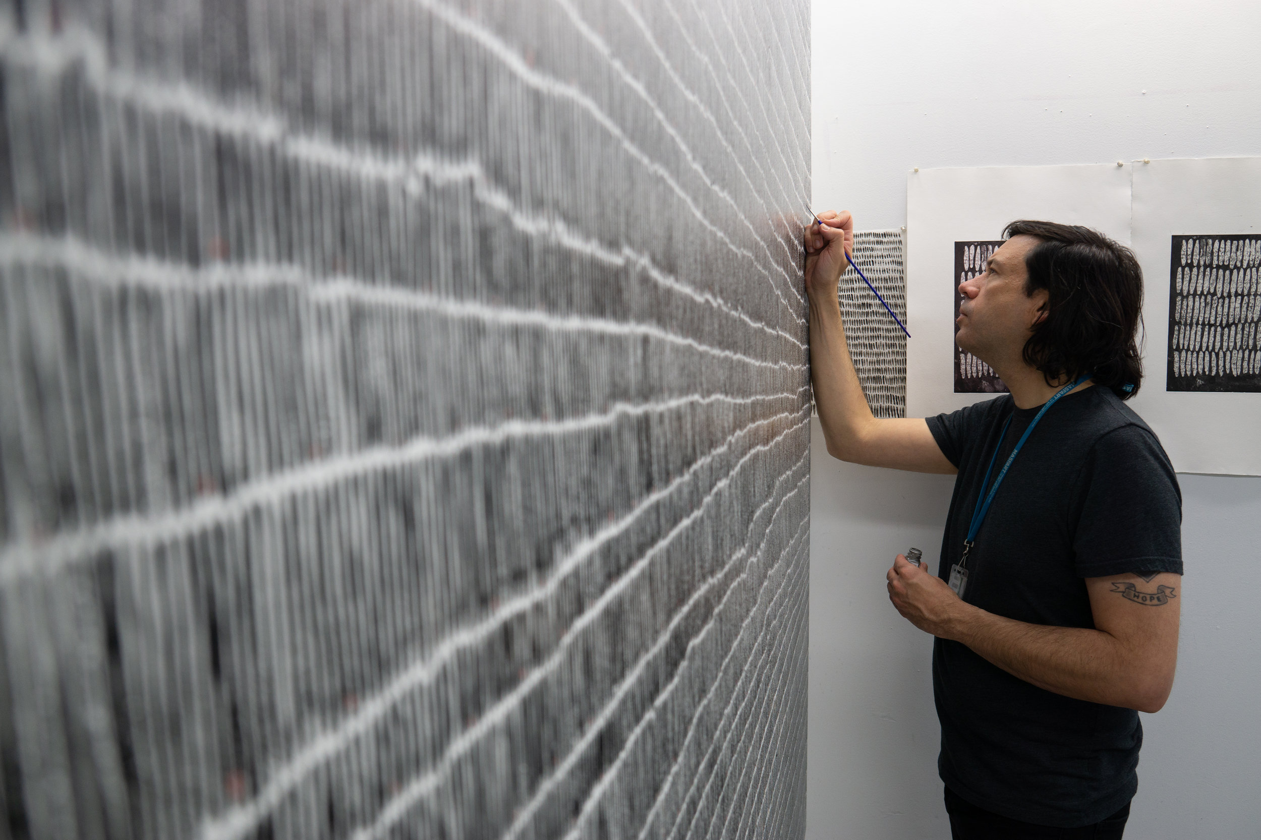 Damon Campagna working on his MFA Thesis Project  (photo by Richard W.P. Huang)