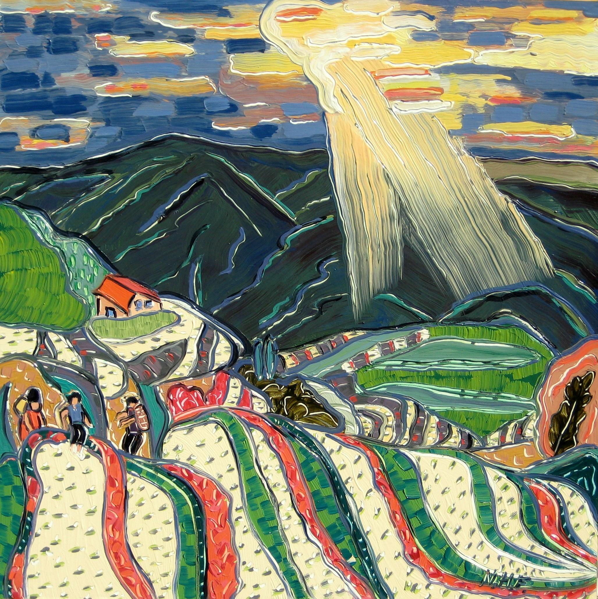 Nan Hass Feldman,  Evening at the Rice Terraces , Oil on panel, 12x12