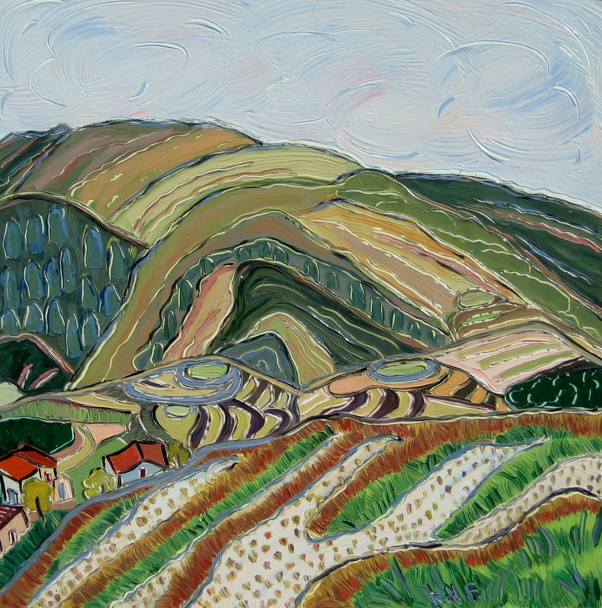Nan Hass Feldman,  Morning at the Rice Terraces , Oil on panel, 12x12