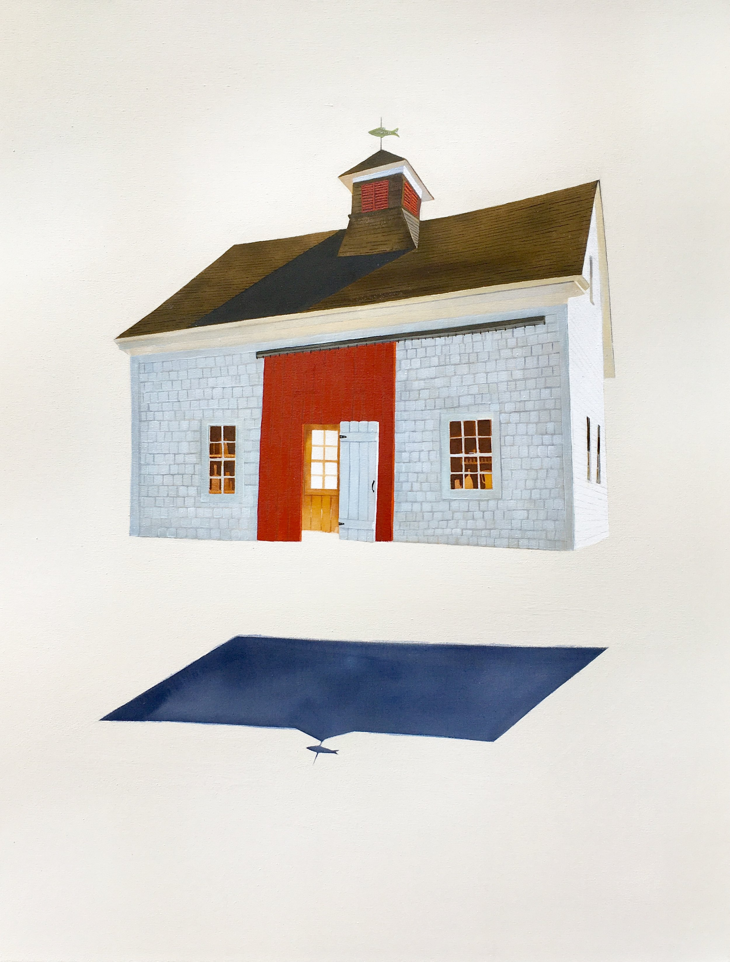 Traci Harmon-Hay,  Barn from the Past , Acrylic on raw canvas, 30x38