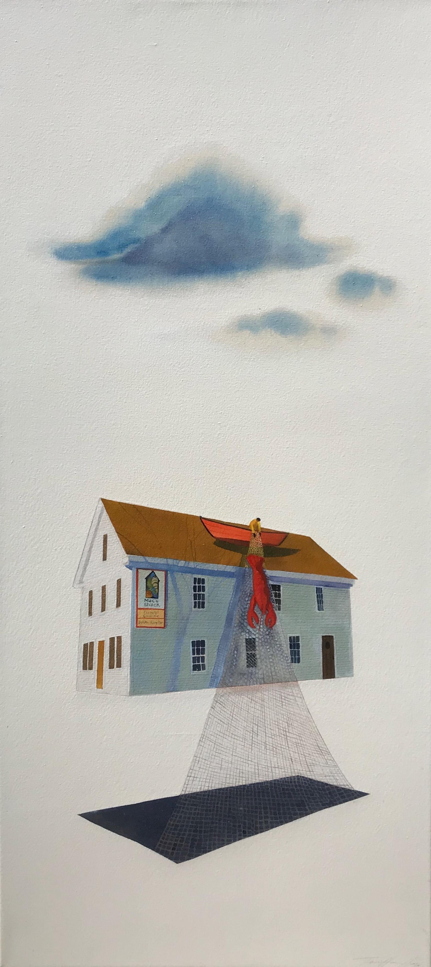 Traci Harmon-Hay,  Floating Shack , Acrylic on raw canvas, 22x48