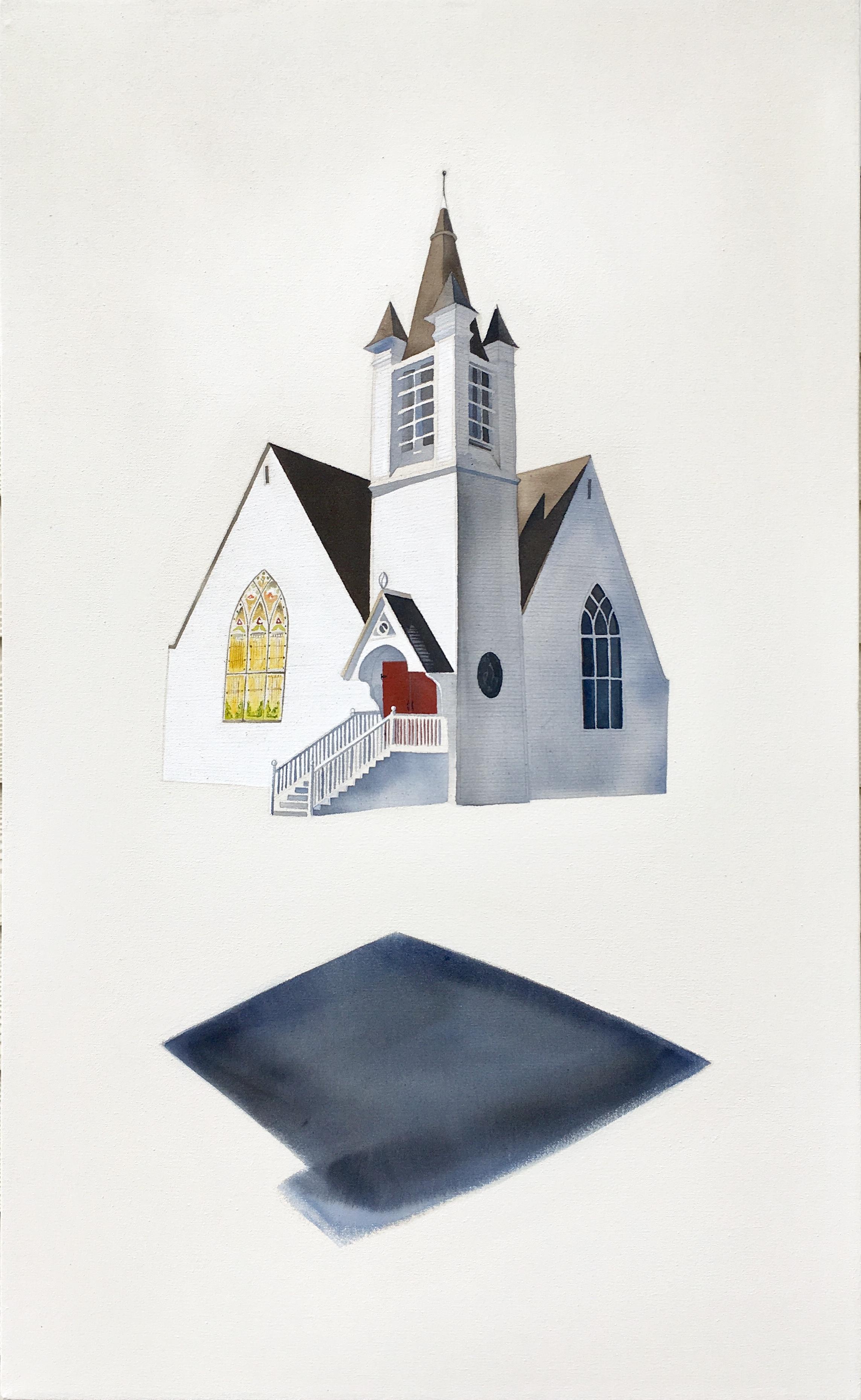 Traci Harmon-Hay,  Rising or Falling? , Acrylic on raw canvas, 22x36
