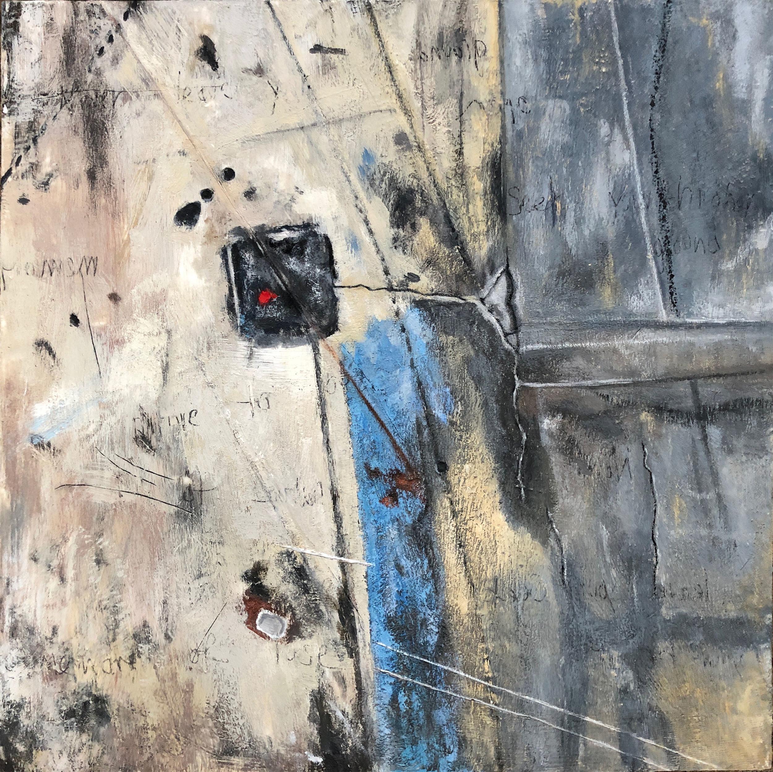 Tracy Spadafora,  Seek Higher Ground , Encaustic and oil on wood panel, 24x24