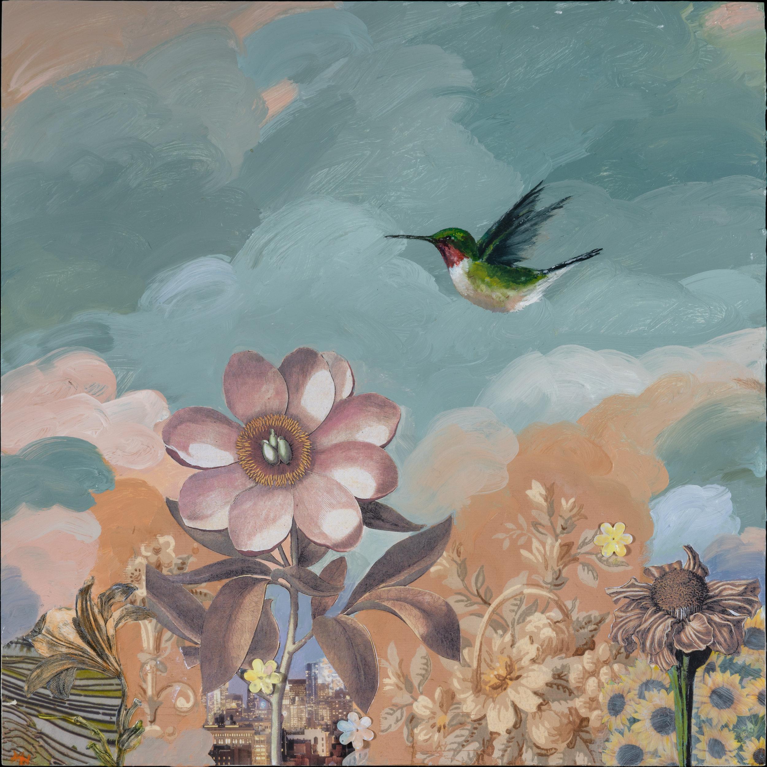 Anne Walker,  Pink Room Redux , Oil, acrylic, collage, vintage wallpaper, 12x12