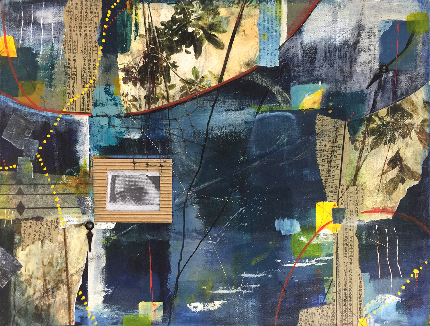 Robin Colodzin,  But most like chaos II , Acrylic, found paper, pencil, pastel, clock parts on canvas panel, 12x16