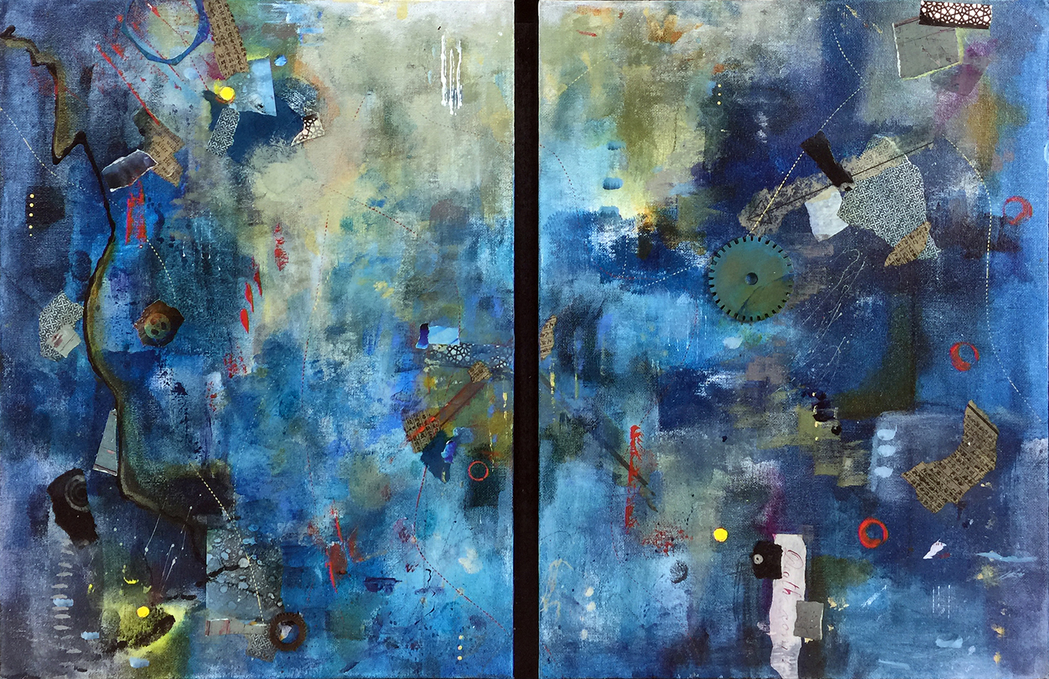 Robin Colodzin,  But most like chaos III , Acrylic, found paper, pencil, pastel, wood gear on canvas panels, each panel 16x12