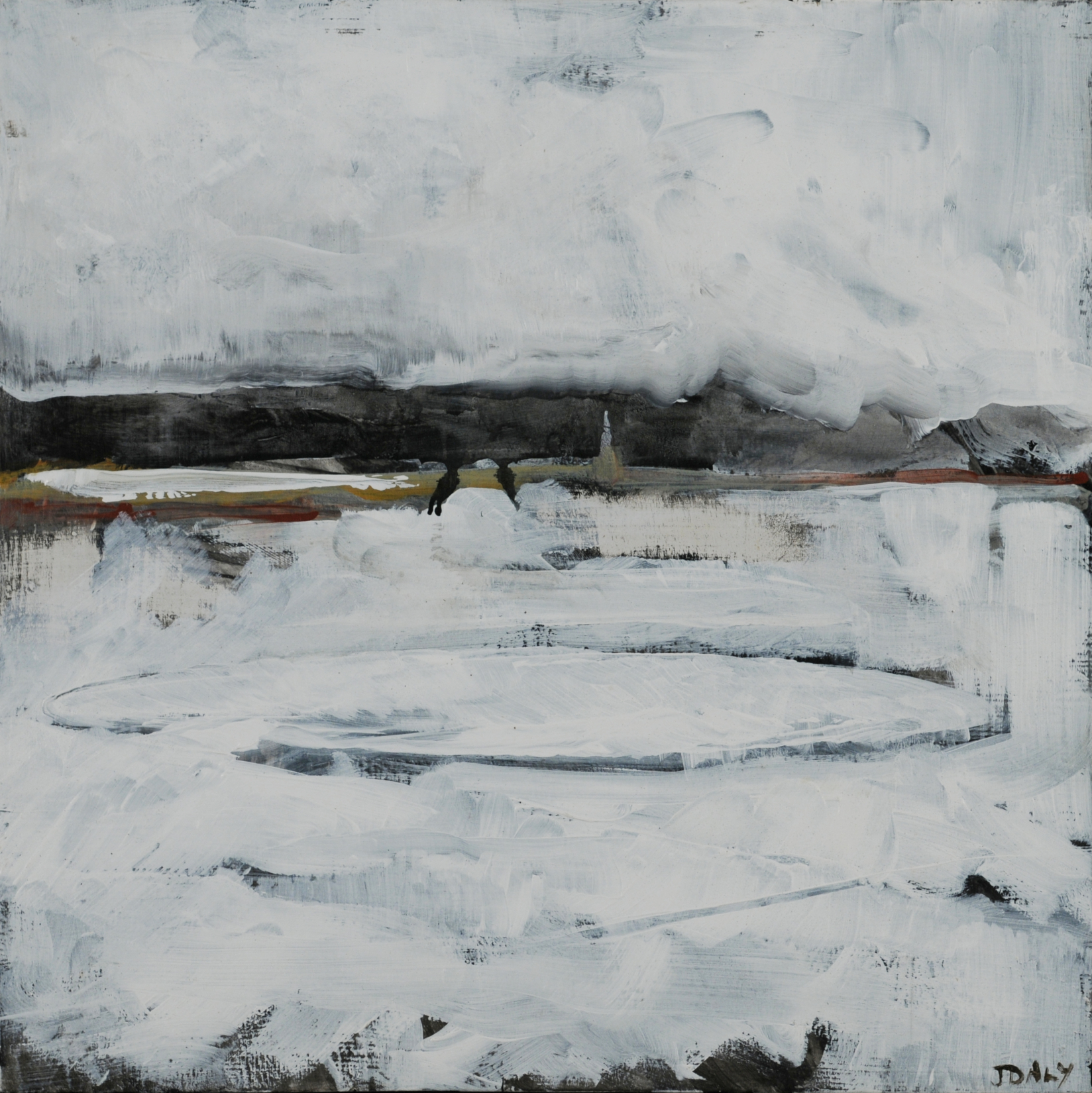John Daly,  Mooring IV , Acrylic on panel, 12x12