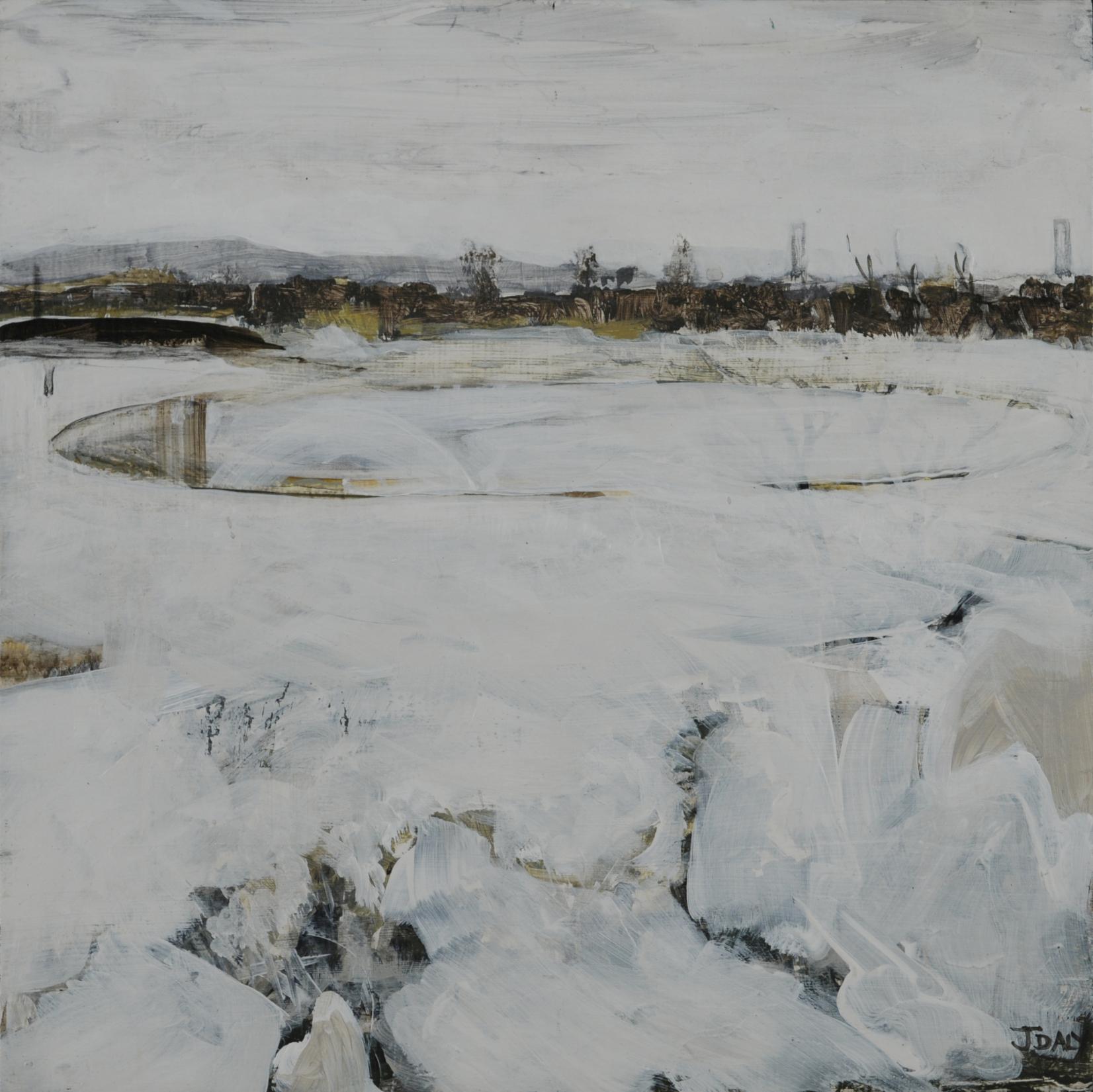 John Daly,  Mooring V , Acrylic on panel, 12x12