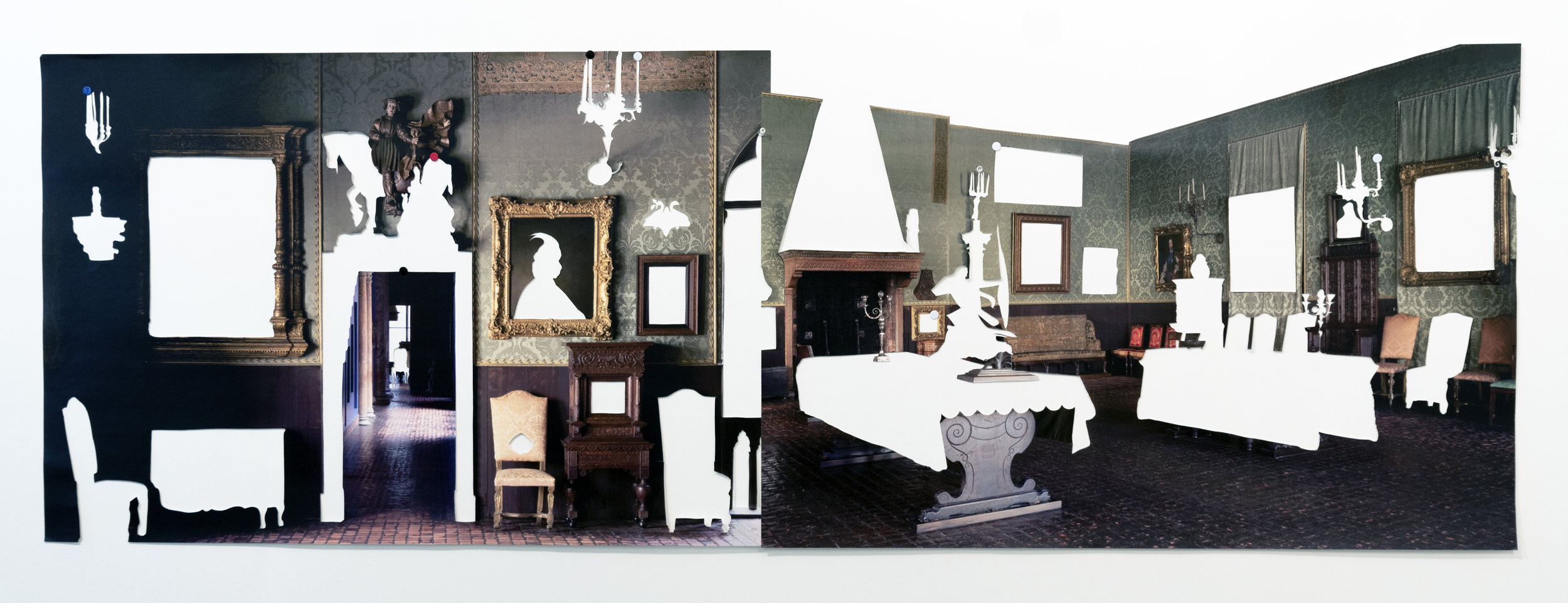 Elizabeth Alexander,  Dutch Room , Hand cut inkjet print, glue