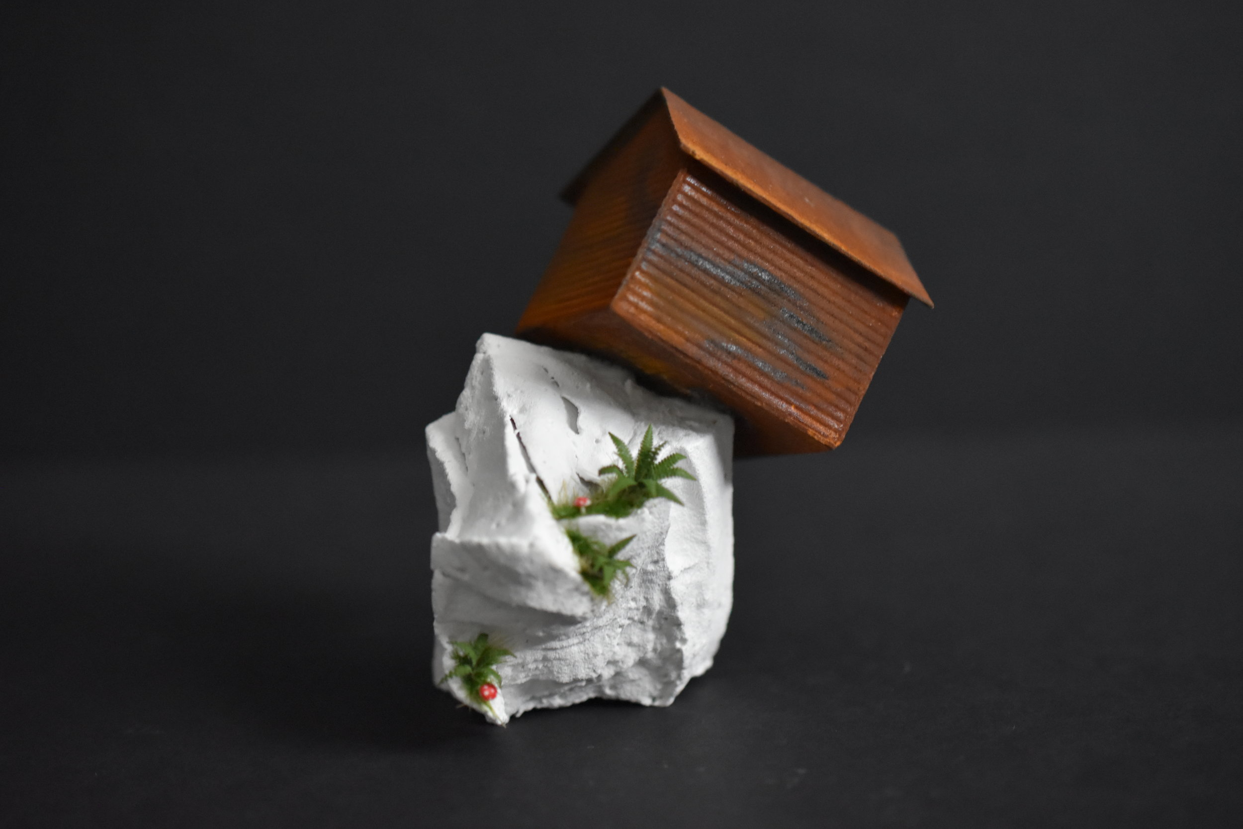 Tatiana Flis,  Off the Edge , Wood, plastic, and mixed-media, 3.5 x 2 x 2.5 inches
