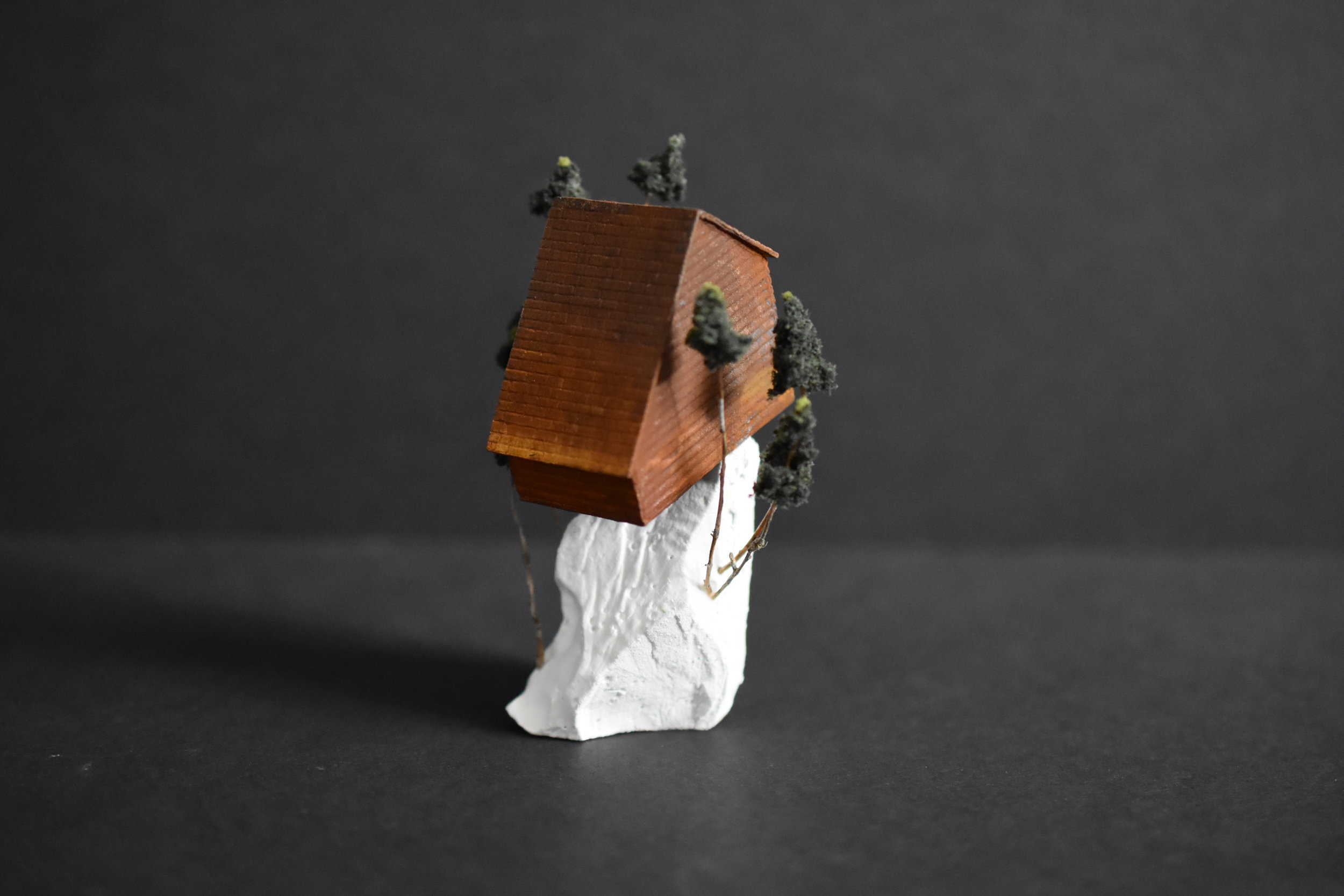 Tatiana Flis,  Between pines, a pause , Wood, plastic, and mixed-media, 3.5 x 2 x 2 inches