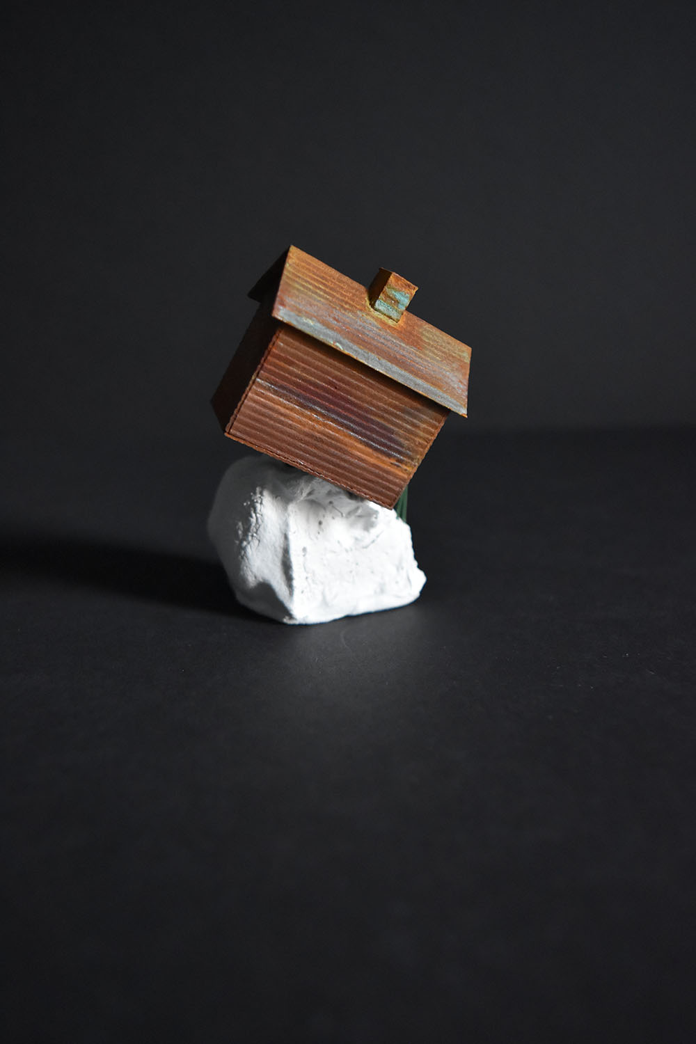 Tatiana Flis,  Precarious Ledge , Wood, plastic, and mixed-media, 3 x 2 x 2.5 inches