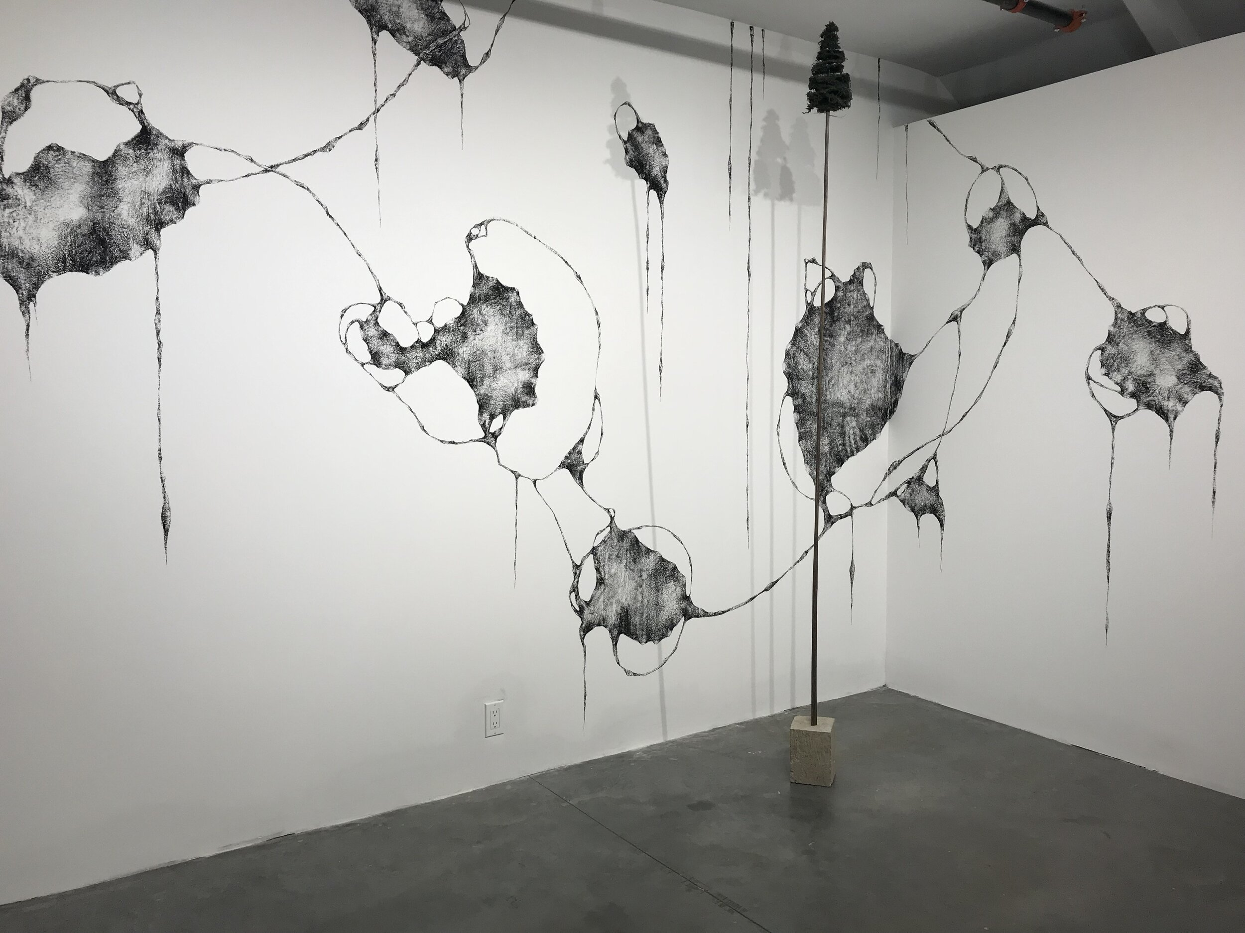 Tatiana Flis,   Forest Leaves , charcoal wall drawing installation