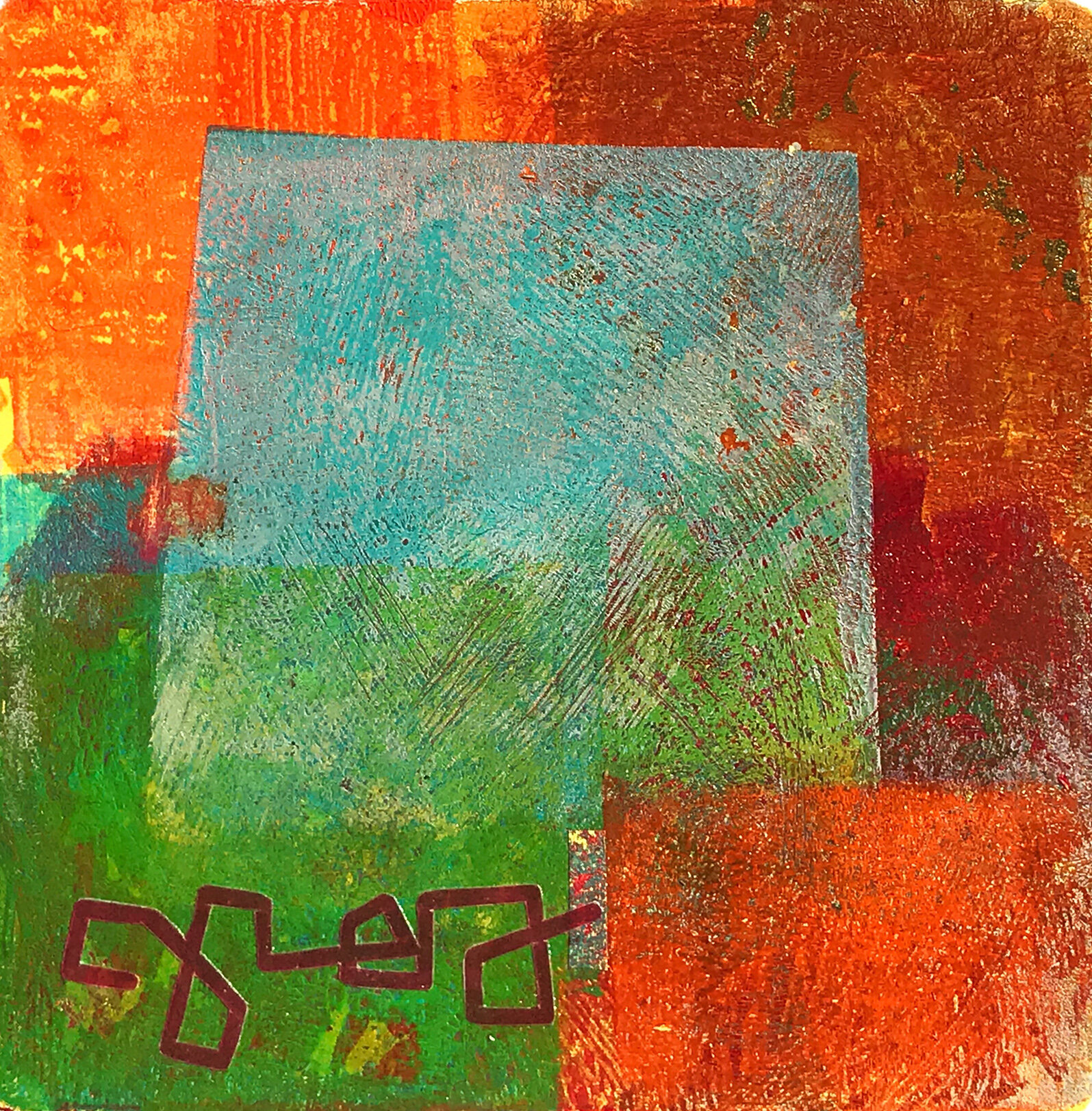 Object Thoughts 1,  monoprint, collage, 13 x 13 inches