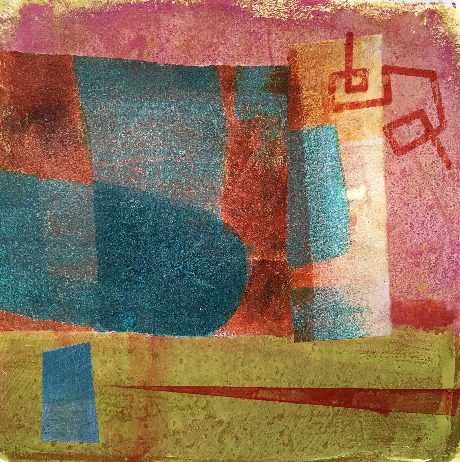 Object Thoughts 6,  monoprint, collage, 13 x 13 inches
