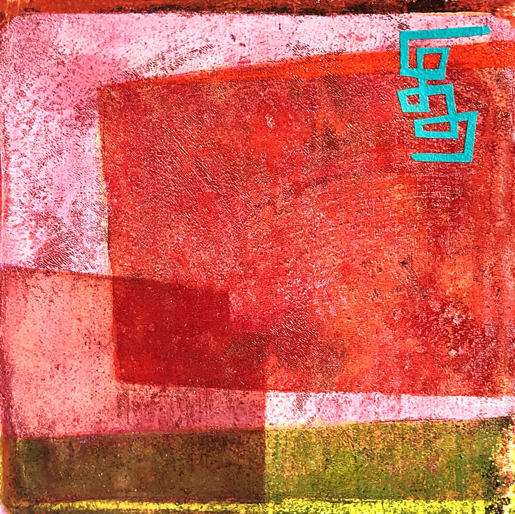 Object Thoughts 4,  monoprint, collage, 13 x 13 inches