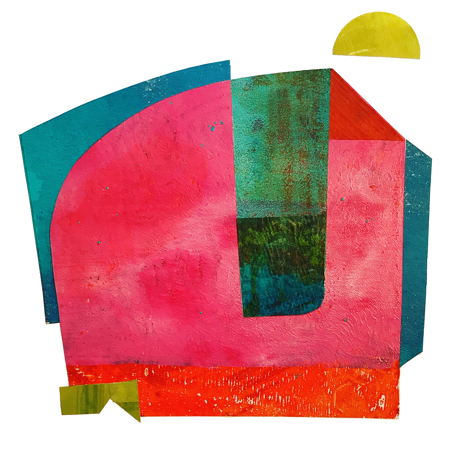 Object Thoughts 11,  monoprint, collage, 13 x 13 inches