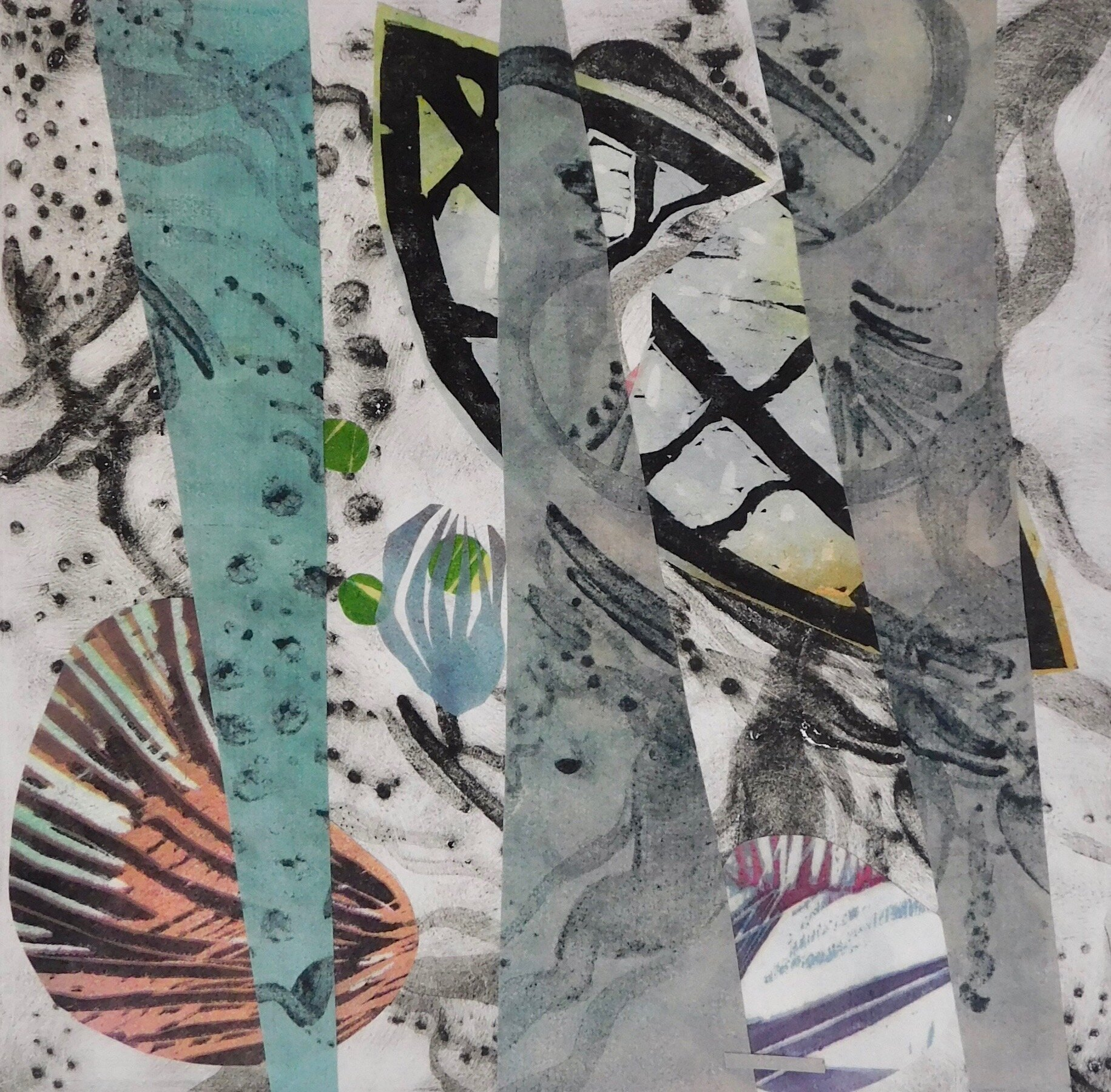 Atlantic Currents,  carborundum, collage, 16 x 16 inches