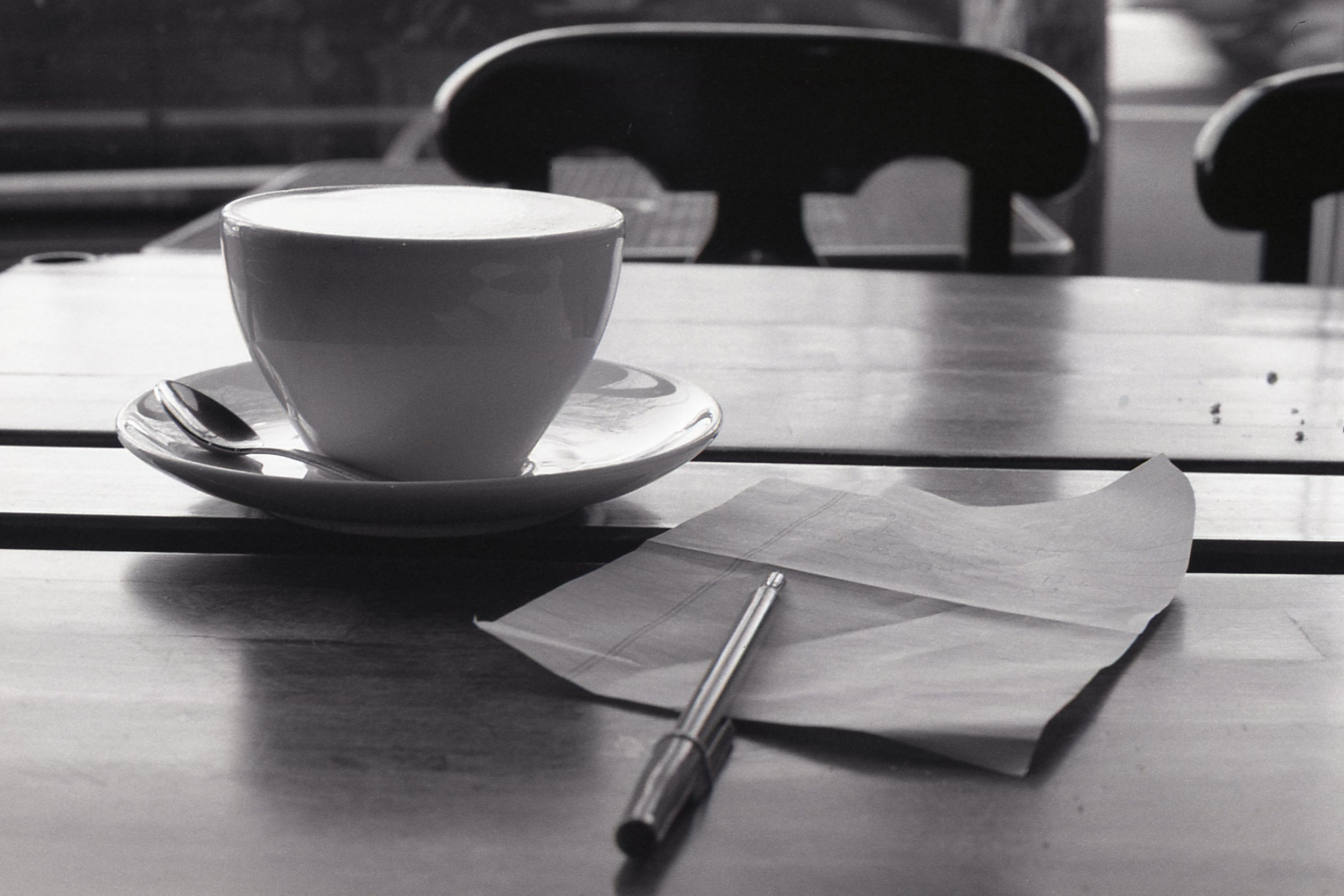 A mocha, pen, and a note. Timeless Coffee, Piedmont Ave, Oakland.