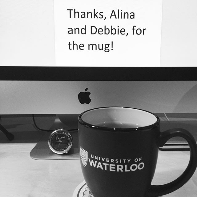 @debknepper and @tralalalina_ thought some snappy @uofwaterloo swag would be just the thing to motivate me.