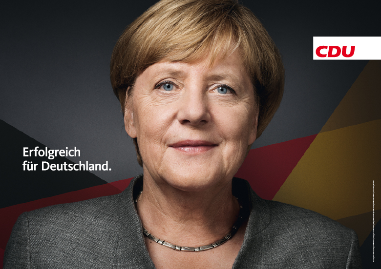"""Election posters tout German Chancellor Angela Merkel and request votes for her CDU party. German elections will be held on Sunday but, as usual, the action begins after the race is over. The slogan reads """"Successful for Germany."""" (Photo: CDU)"""