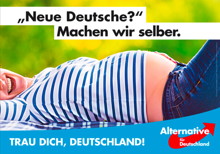 A xenophobic election campaign poster for the Alternative for Germany (AfD). The tagline says: New Germans? We'll make them ourselves. The party has seen success by embracing German fears about immigration.