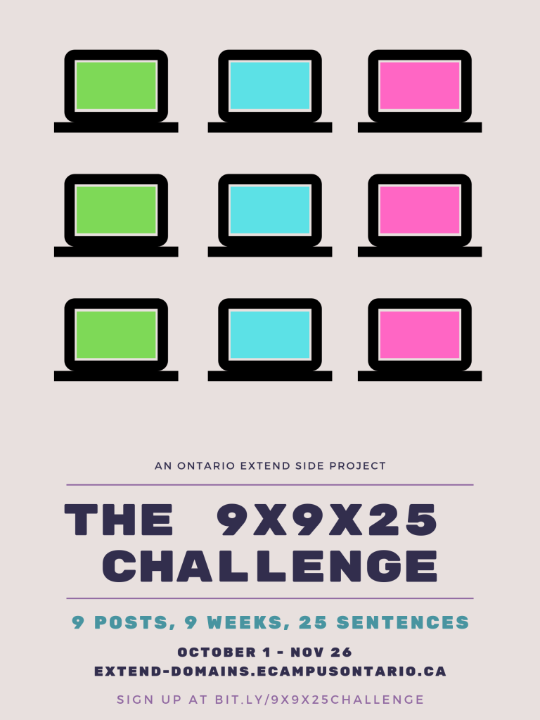 This is Terry Greene's poster for the 9x9x25 Challenge.