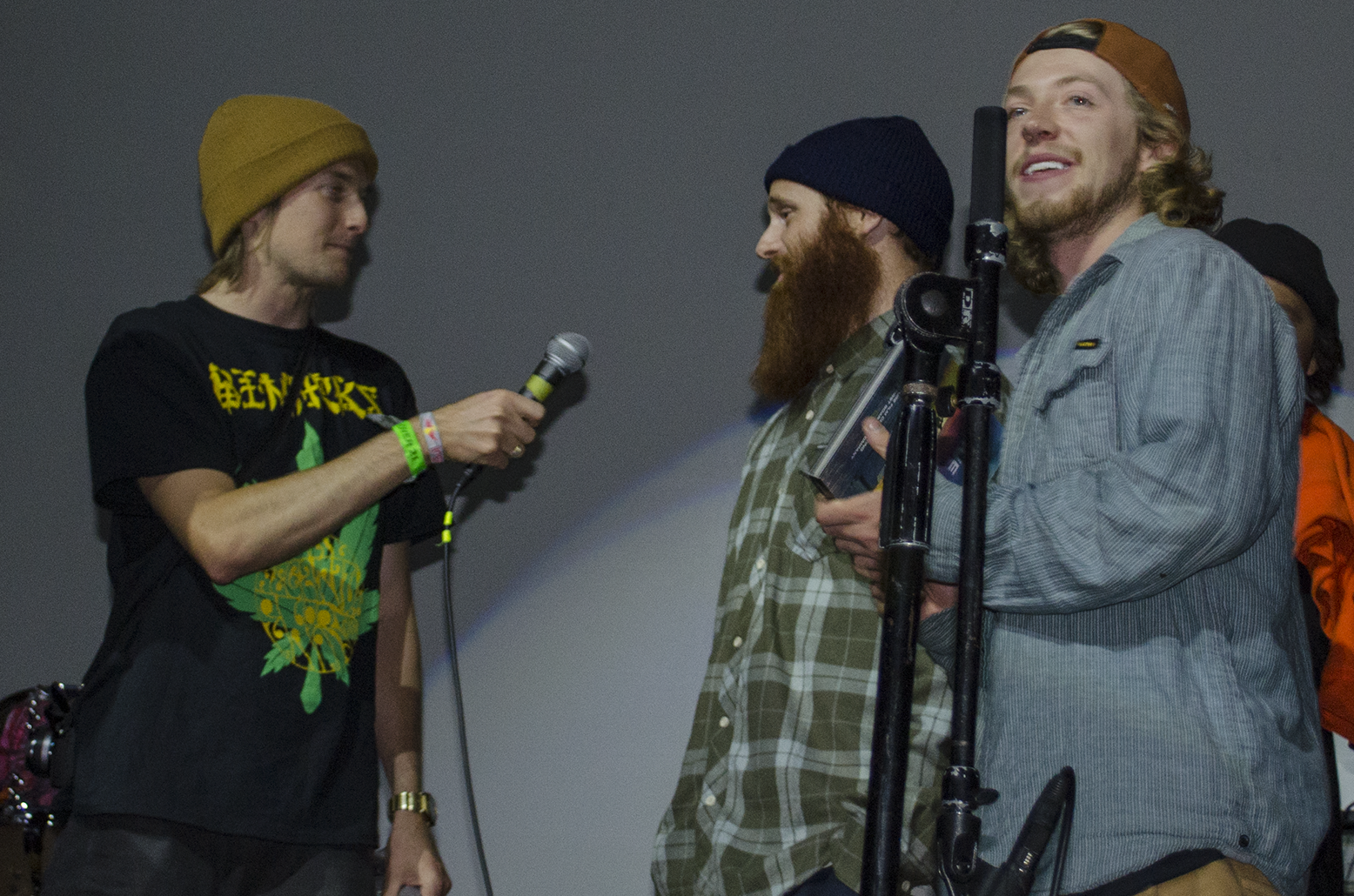 Jake and Pat introducing  Mr. Plant  while Dylan Alito chucks product off stage.