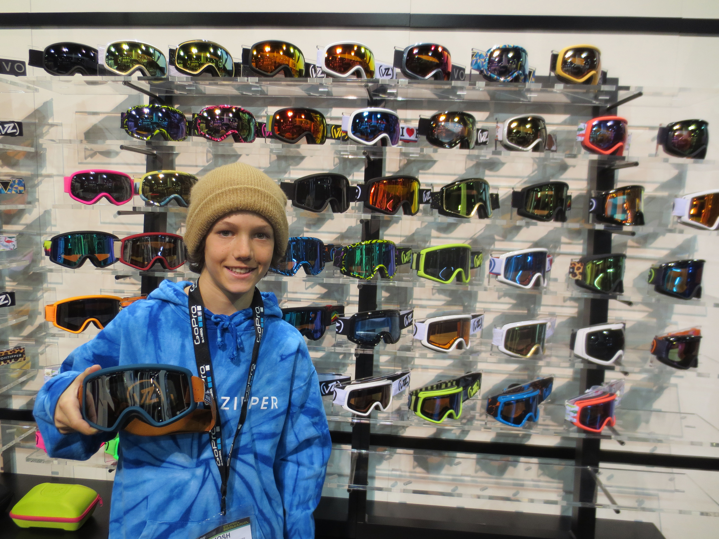 Justin Phipps showing us what VonZipper goggles he'll be rocking next year.