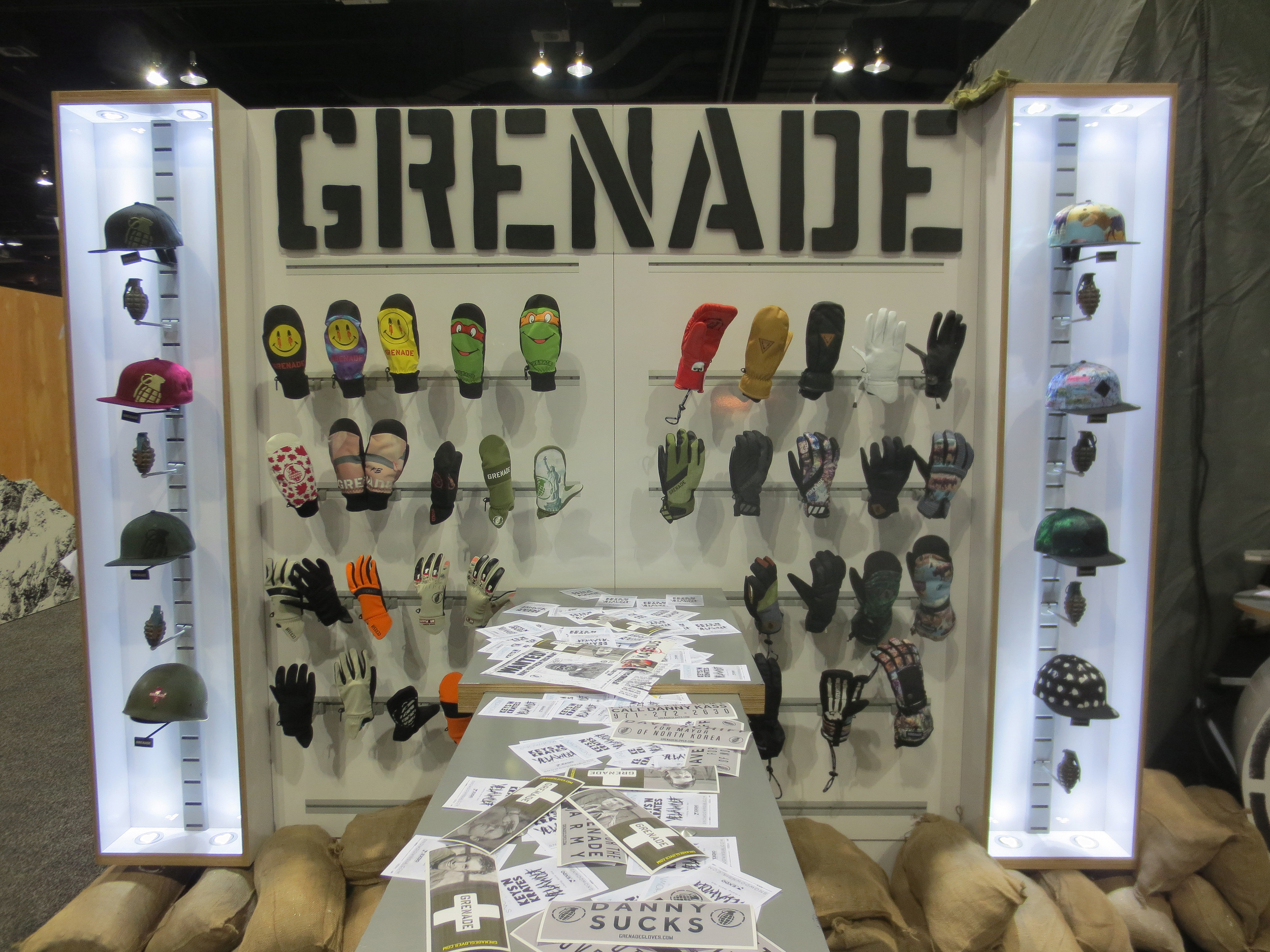 Grenade went full military on their booth, Danny Kass and company did it big.