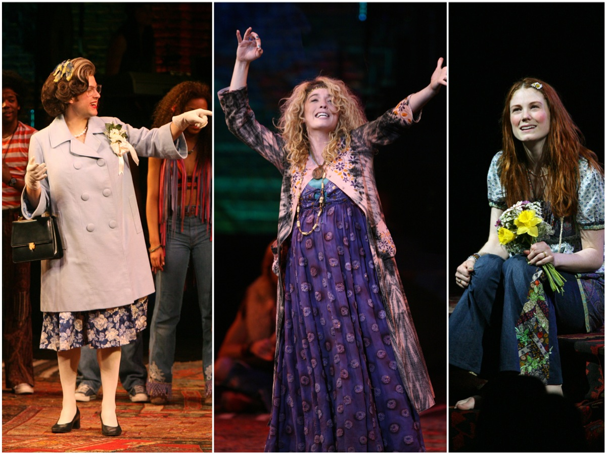Broadway Company Andrew Kober as Margret Meade, Kacie Sheik as Jeanie and Allison Case as Chrissy