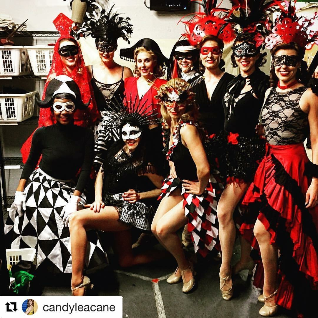 Broadway Ensemble Ladies in their Masquerade Ball costumes backstage at the Palace Theatre