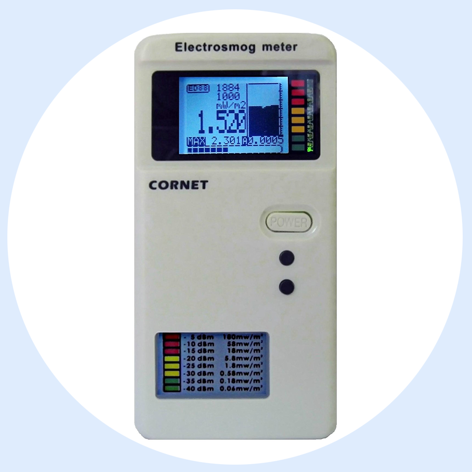 Tri-Mode Meter (High + Low Frequency) - Three Devices in OneFor low cost and versatility, you can't beat this device. It measures both types of low frequency EMF (electric and magnetic fields) plus high frequency radiowaves (microwaves). Covers a very wide frequency range with good sensitivity.