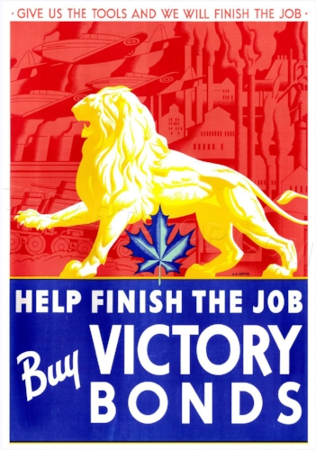 Victory Bond poster designed by AJ Casson in 1941. AJ Casson was a member of the Group of Seven. The Group was financially supported by Brantford-born artist and Group member Lawren Harris.