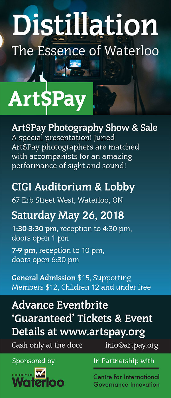 Nine Photographers and their interpretations of Waterloo, Ontario. Each photographers' images will be accompanied by originally commissioned works by sound artists (music, song, poetry, spoken word). Two shows - afternoon and evening.