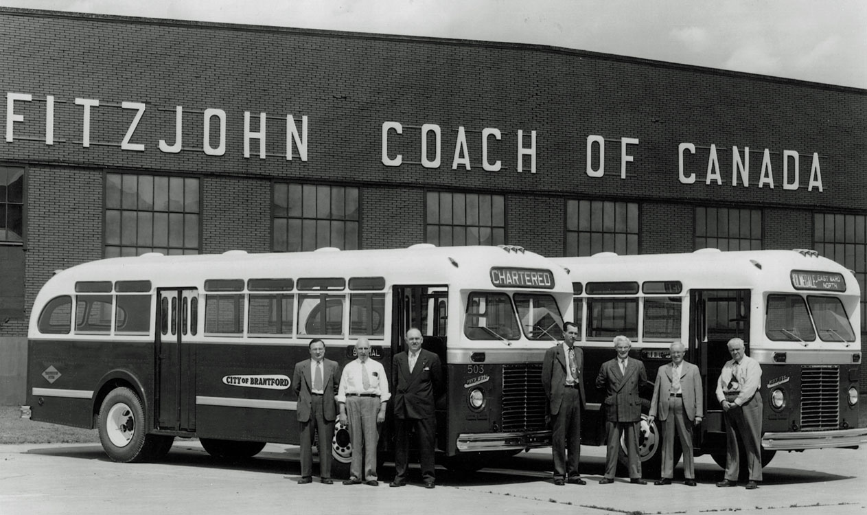 FitzJohn Coach of Canada  In 1949, FitzJohn Coach of Canada was established by the FitzJohn Coach Company of Muskegon, Michigan, in an old hangar at the Brantford Airport. General Motors could not keep up with the post war demand for city buses, thus allowing smaller companies like FitzJohn to fill the void. The company started off strong in Brantford but faded after 1952. In 1958 the facility was sold to Blue Bird, allowing Blue Bird to expand into Canada. FitzJohn produced a total of 197 buses at the Brantford facility.  Image courtesy of the Brant Historical Society