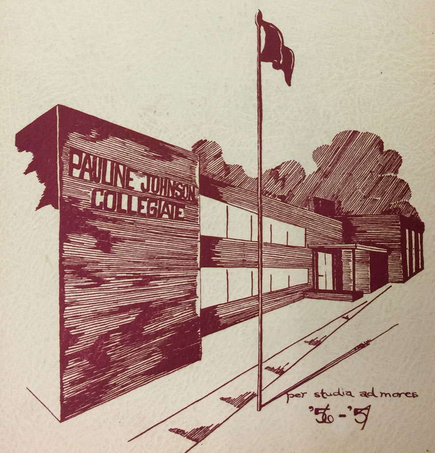 Drawing of Pauline Johnson Collegiate as it appeared on the cover of the 1956-57 yearbook - Owanah.  Image courtesy of the Brant Historical Society