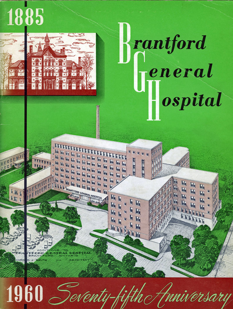Brantford General Hospital after the completion of the rebuild in 1960.  Image courtesy of the Brant Historical Society
