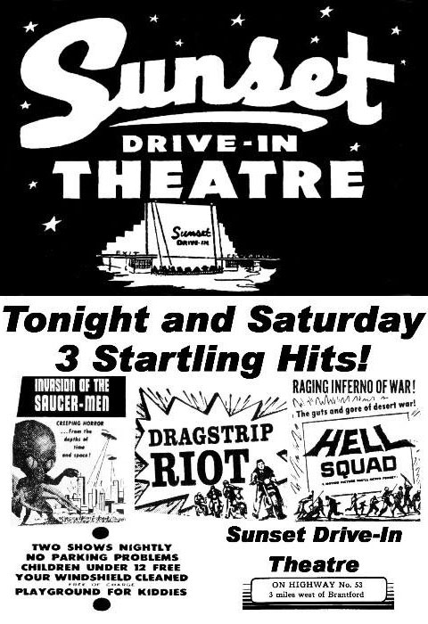 Sunset Drive In newspaper ad from 1958.   Image courtesy of the Brant Historical Society