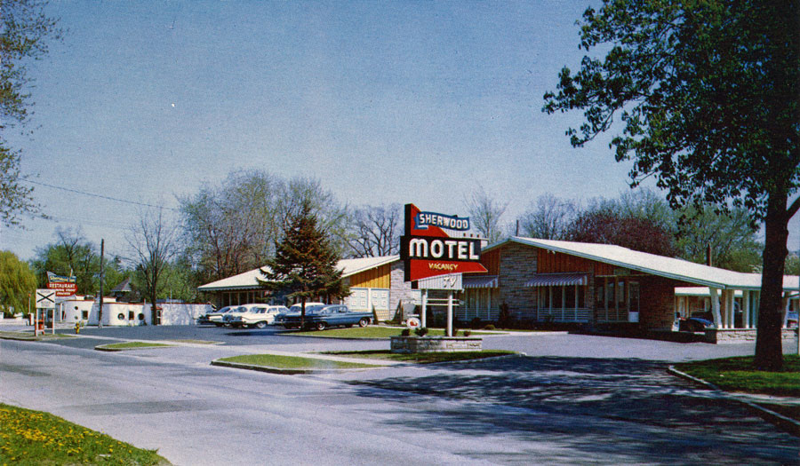 The Sherwood Motel opened in 1959 on Colborne St E. It is located adjacent to the Sherwood Restaurant.  Image courtesy of the Brant Historical Society