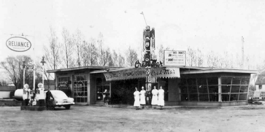 The Cres-Mar Dining Lounge became the Pow Wow Drive-In on Hwy 2 & 53 to Hamilton. It is now the China King  Restaurant, 1320 Colborne St E.  Image courtesy of the Brant Historical Society
