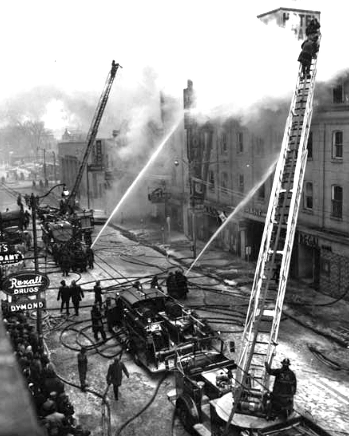 Brant Hotel Fire, 31-January-1962. Located at 85 Dalhousie Street, the hotel was built in 1858 and was called the American Hotel. It was renamed to the Brant Hotel in 1923. In 1960 a group of Toronto businessmen bought the hotel and made extensive renovations. The hotel had 80 rooms. The eastern portion of Harmony Square now occupies this location.   Image courtesy of the Brant Historical Society